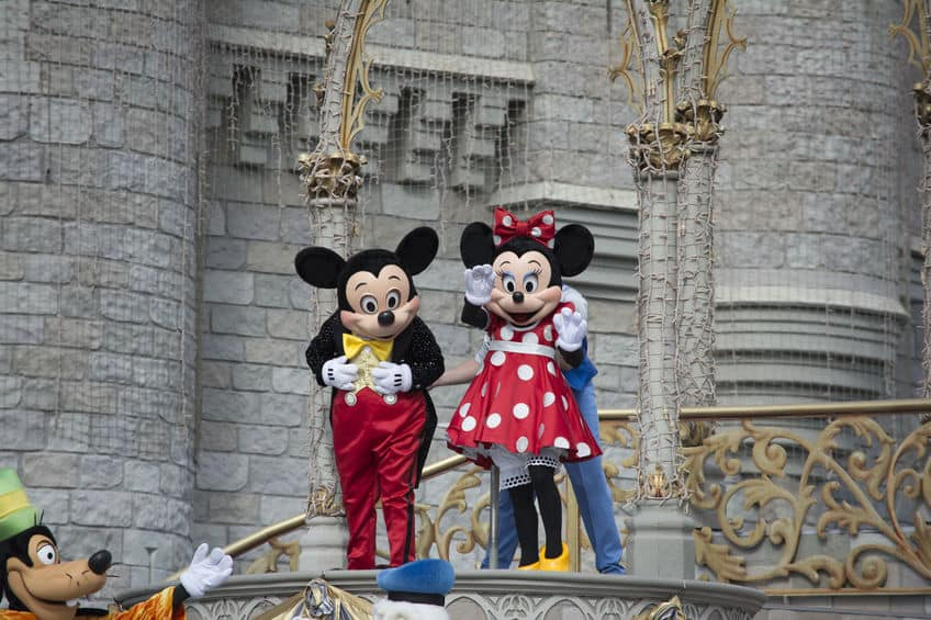 Mickey Mouse and Minnie Mouse on stage